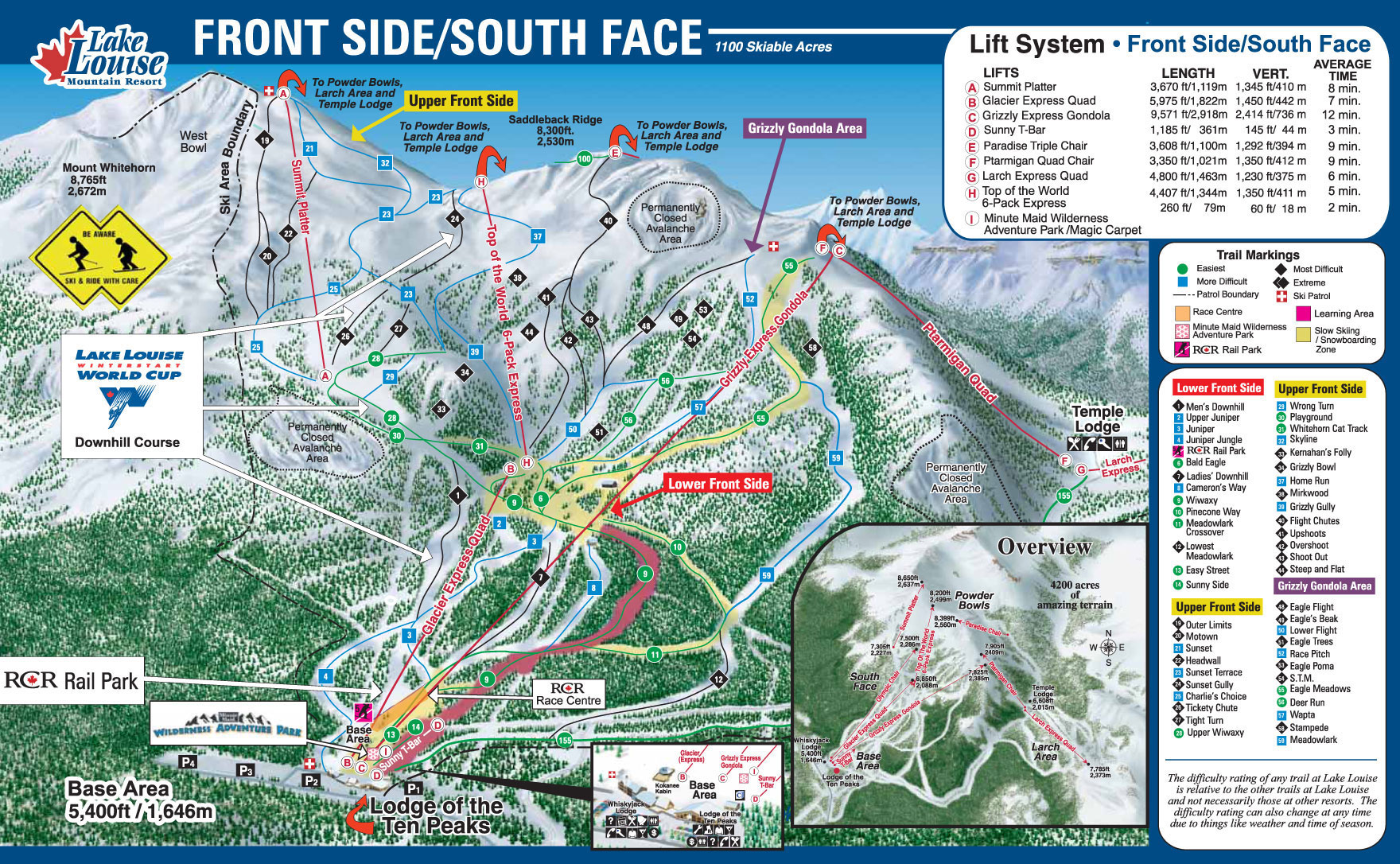 Lake Louise Piste Map - Front Side/South Face