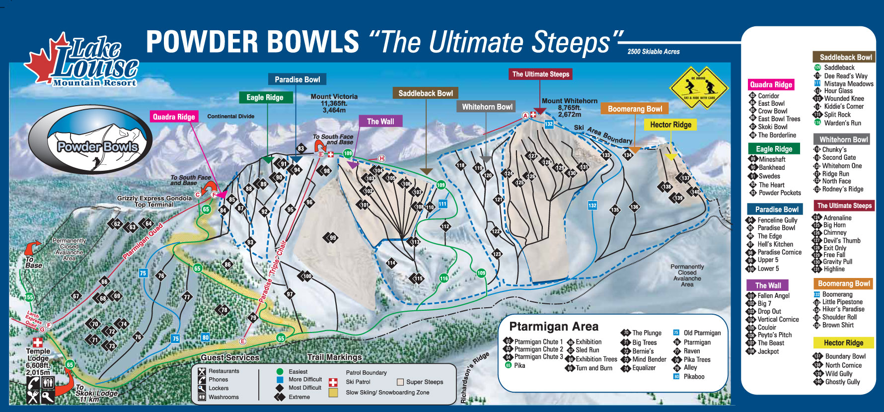 Lake Louise Piste Map - Ptarmigan/Paradise/Back Bowls