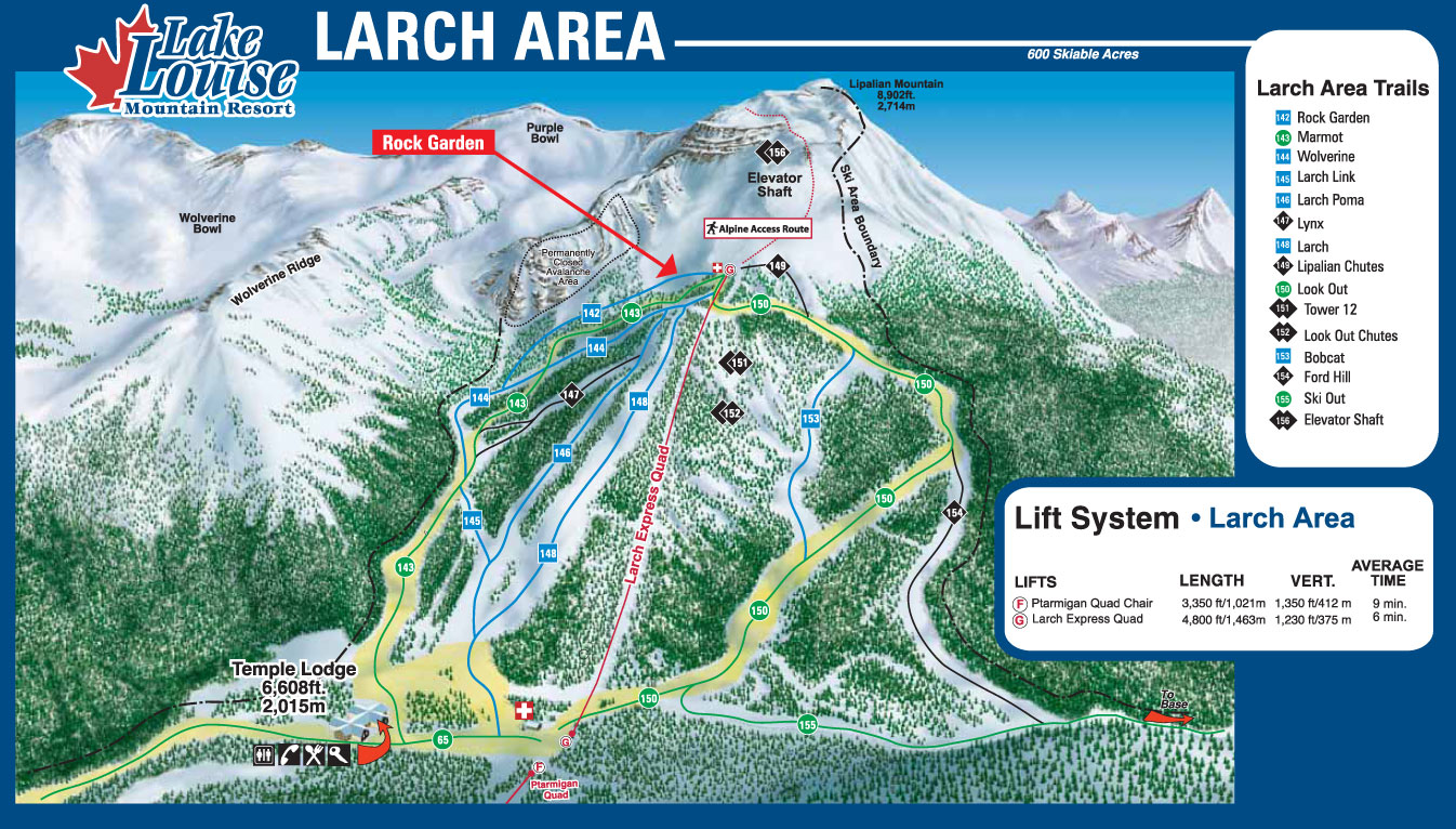 Lake Louise Piste Map - Larch Area